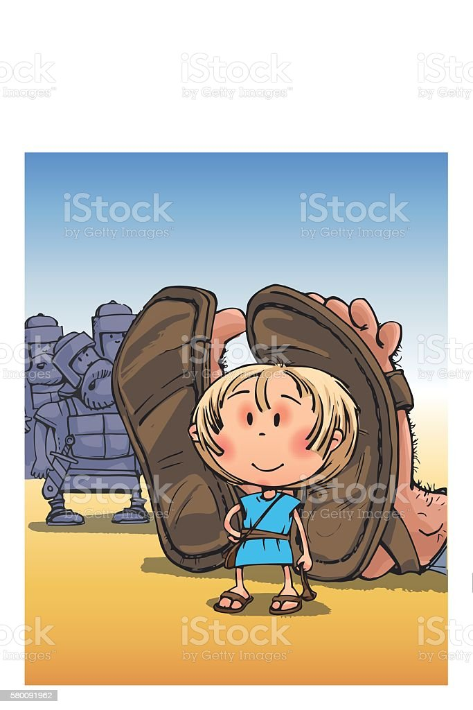 David vs. Goliath Biblical story comic drawing funny characters vector art illustration