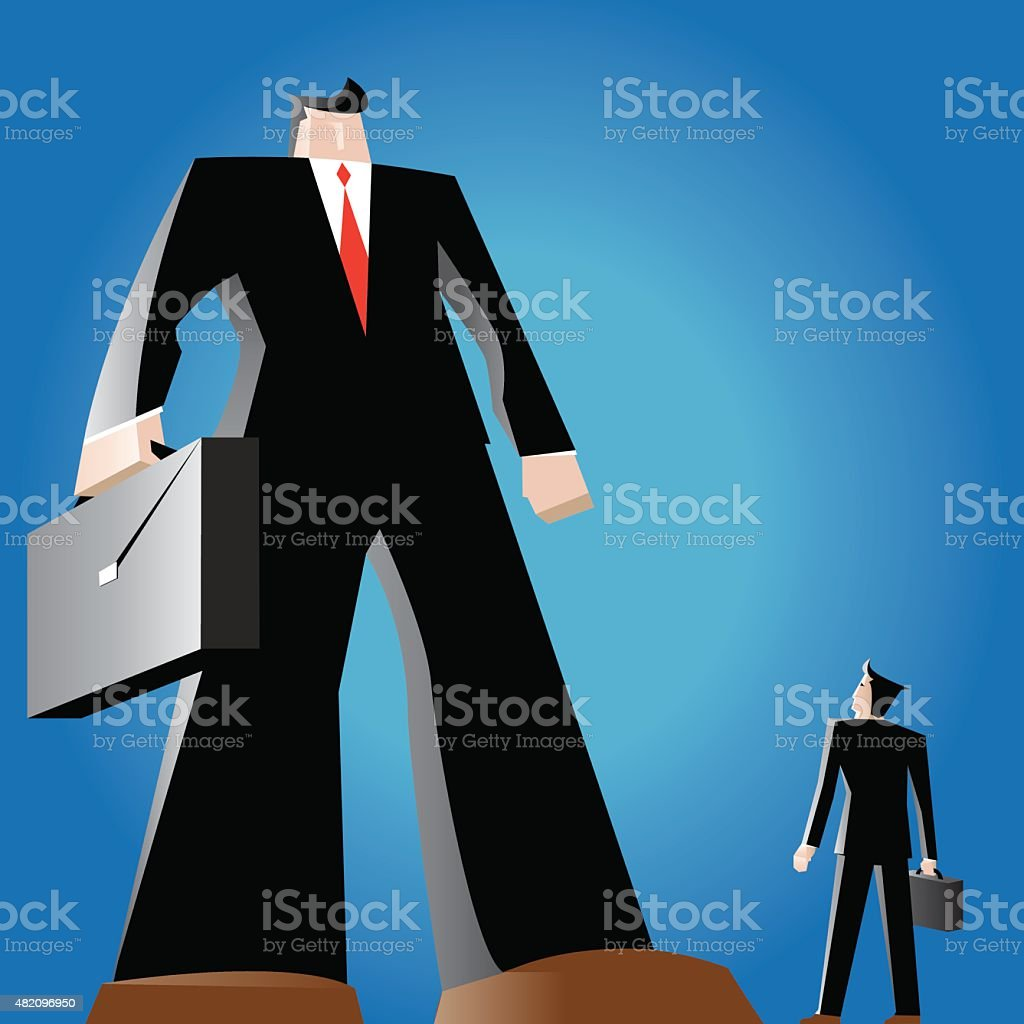 David vs Goliath business competition vector art illustration