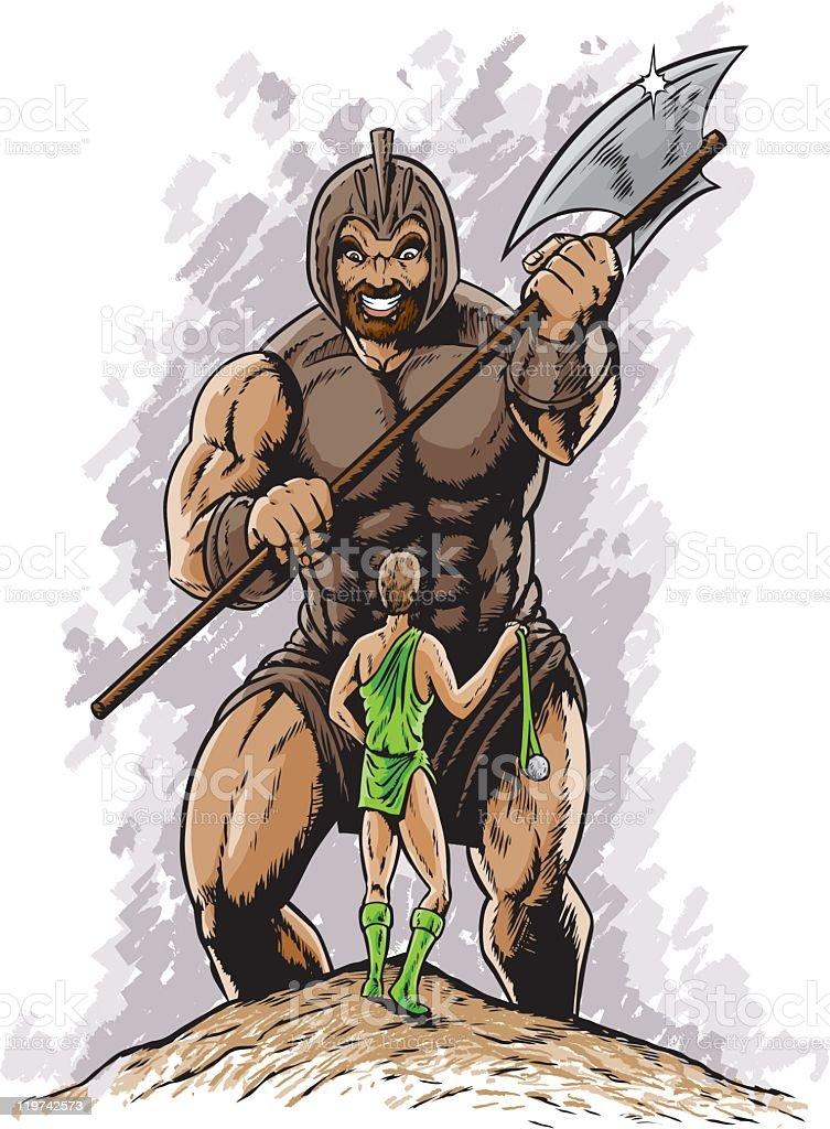 David vs Goliath vector art illustration