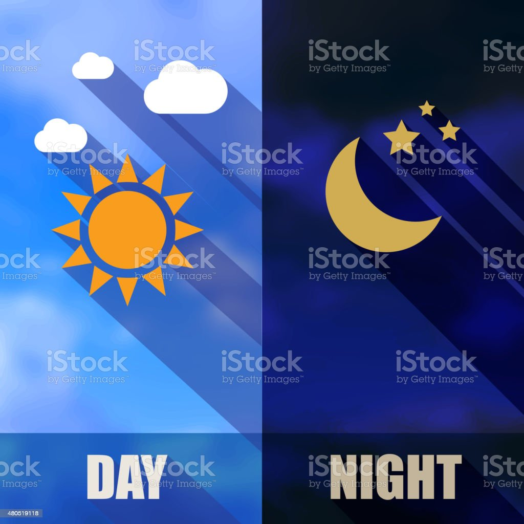 Day and night banners with sun and moon flat design vector art illustration