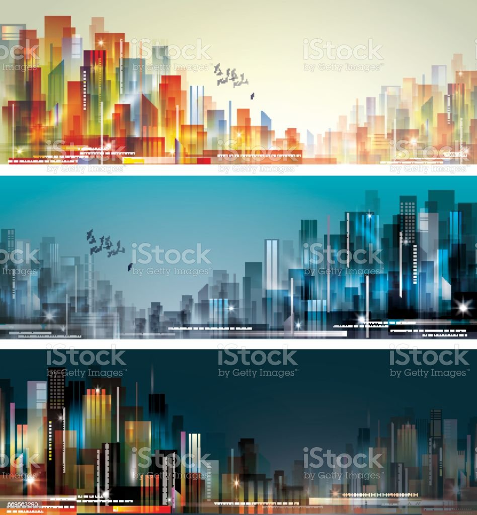 Day and night city skylines vector art illustration