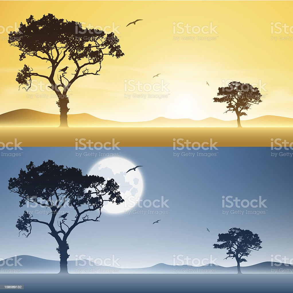 Day and Night Landscapes royalty-free stock vector art