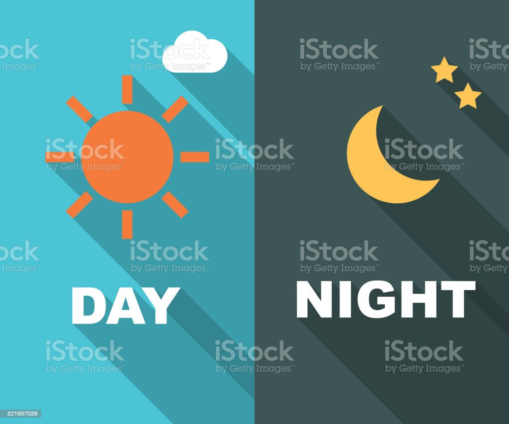 day and night long shadow flat vector art illustration