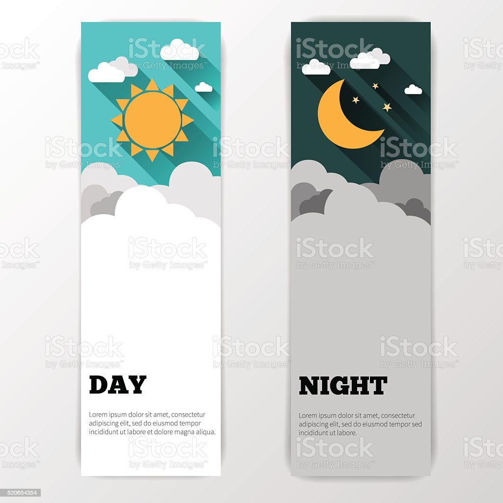 Day and night vector banners isolated. Weather banners vector art illustration