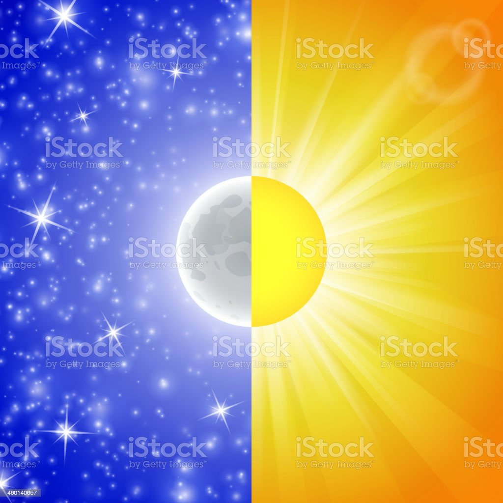 Day and night. Vector illustration of a Split-screen. royalty-free stock vector art