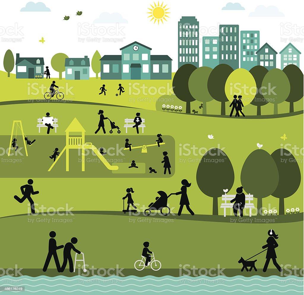 Day at a City Park vector art illustration