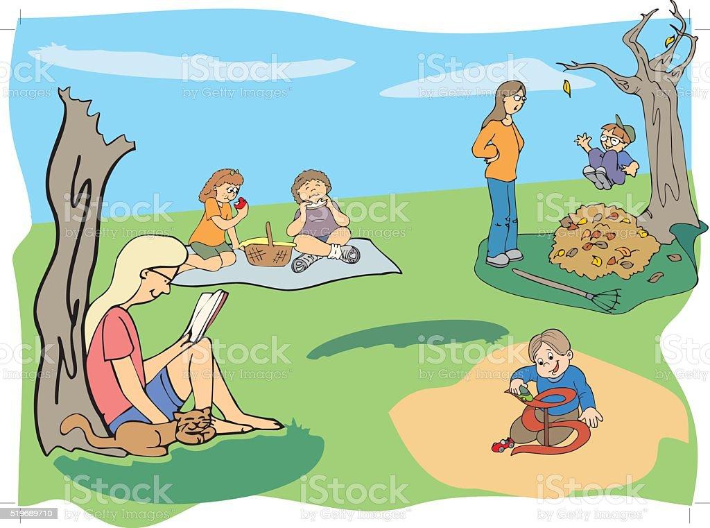 Day at picnic vector art illustration
