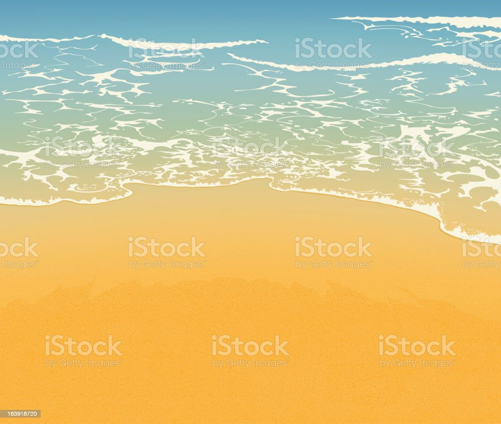 A day at the beach with the waves coming in on the sand vector art illustration