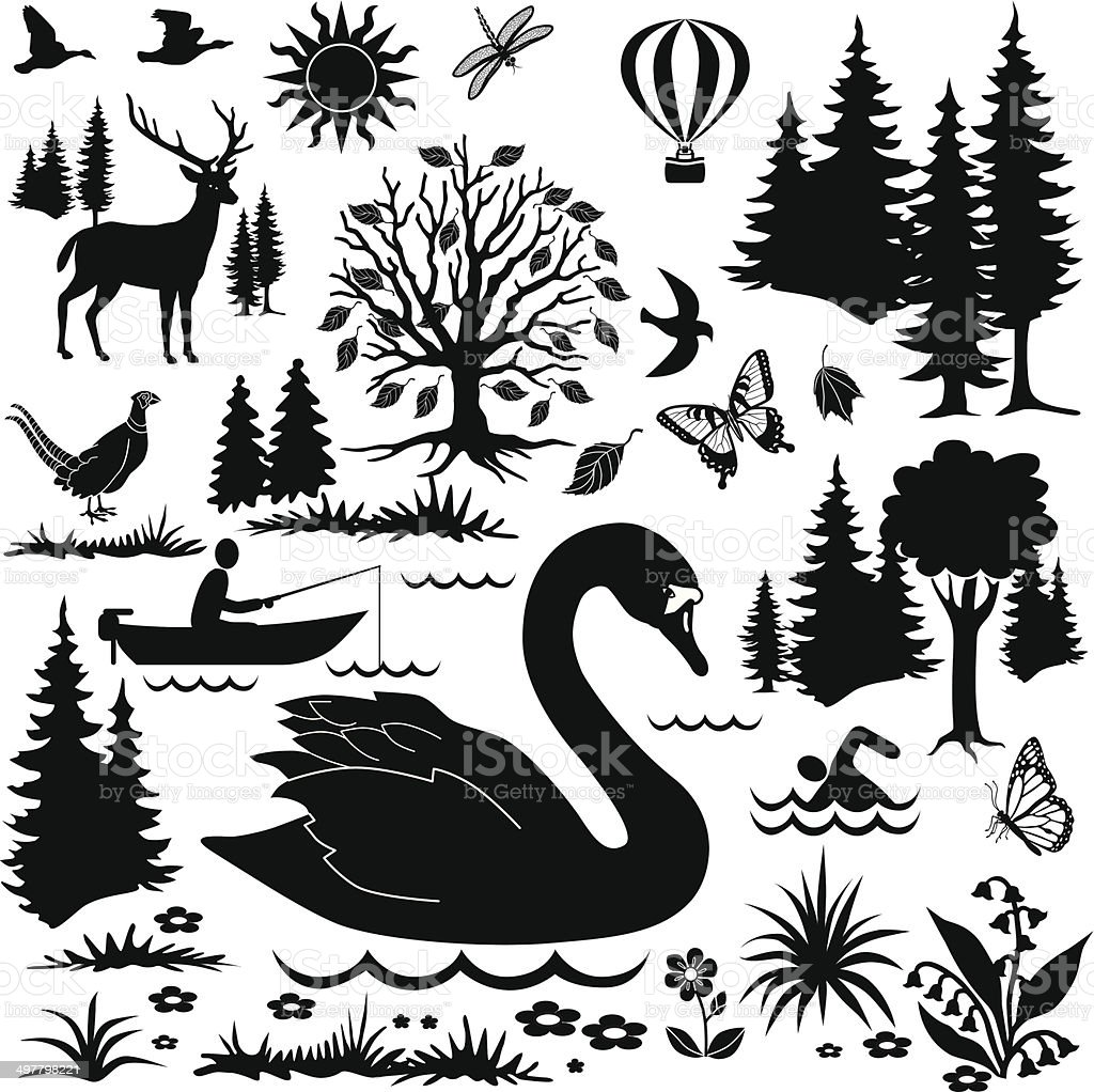 day at the national park design elements vector art illustration