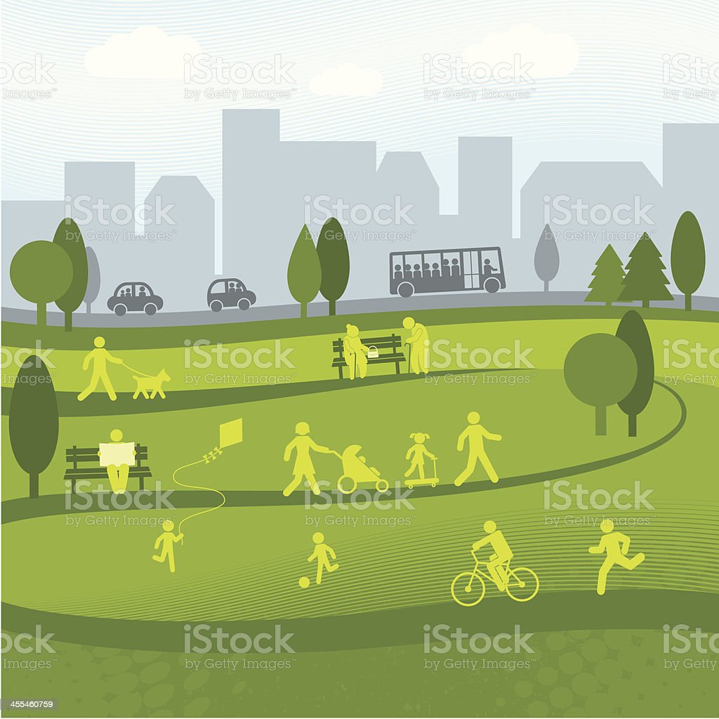 Day at the Park vector art illustration