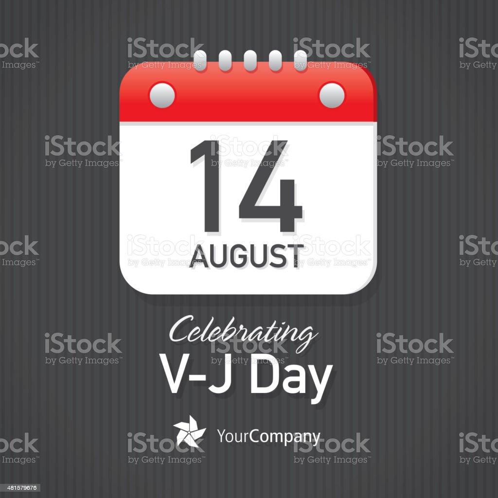 V-J Day Calendar design layout template vector art illustration
