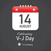 V-J Day Calendar design layout template