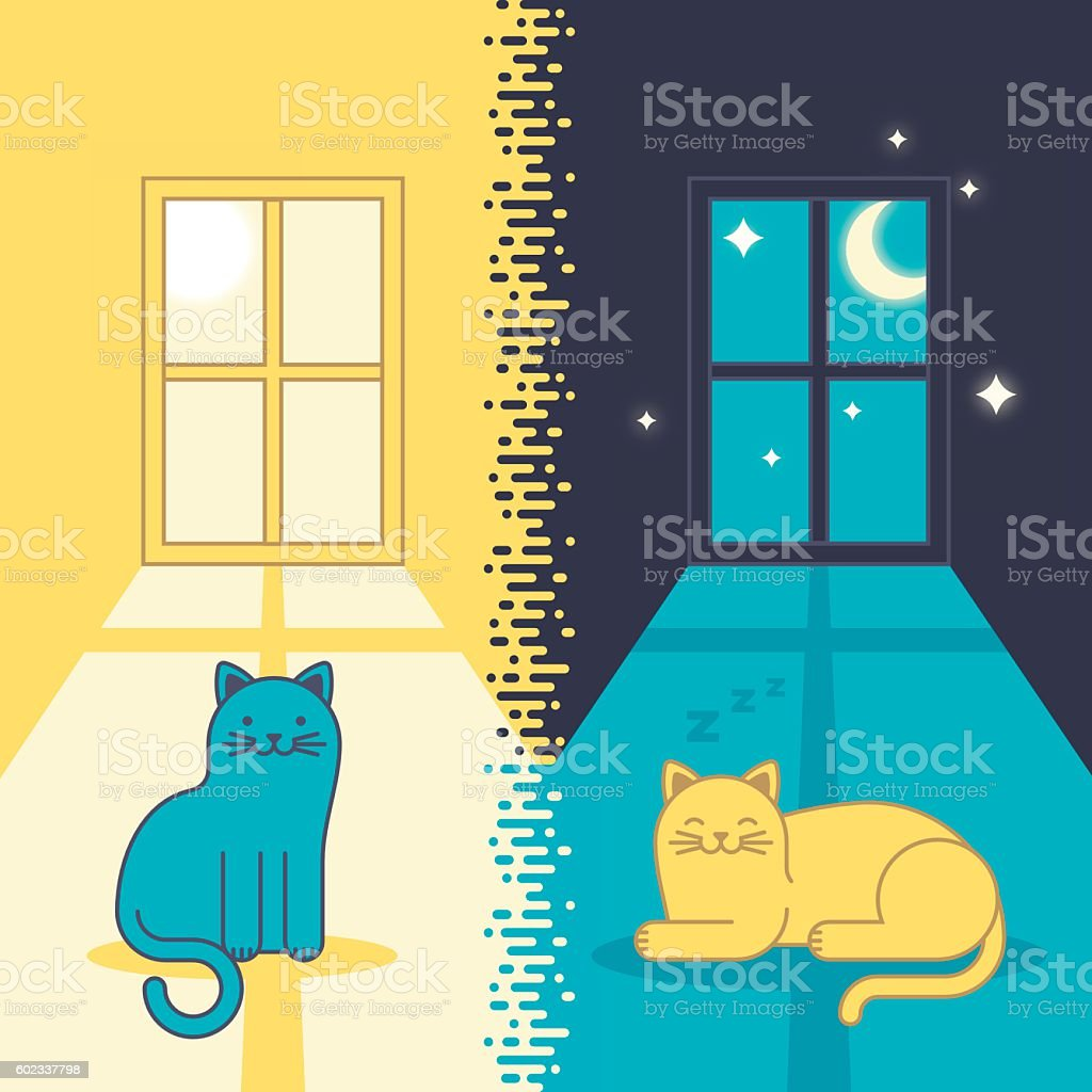 Day Cat and Night Cat vector art illustration