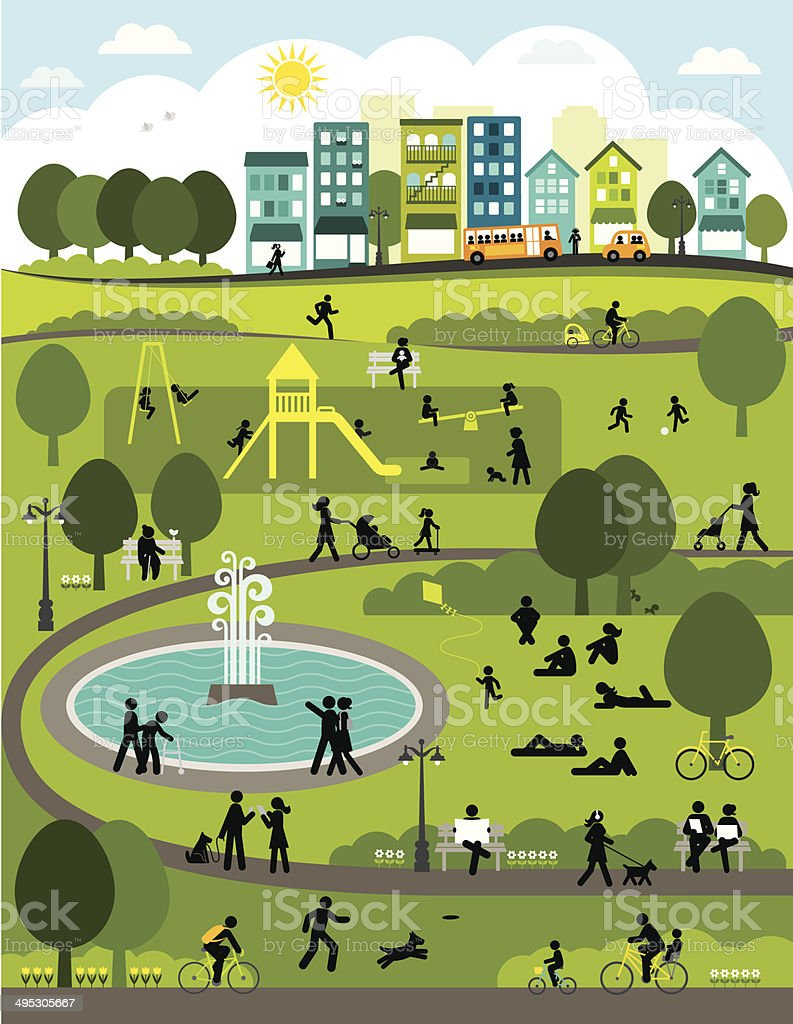 Day in the City Park vector art illustration