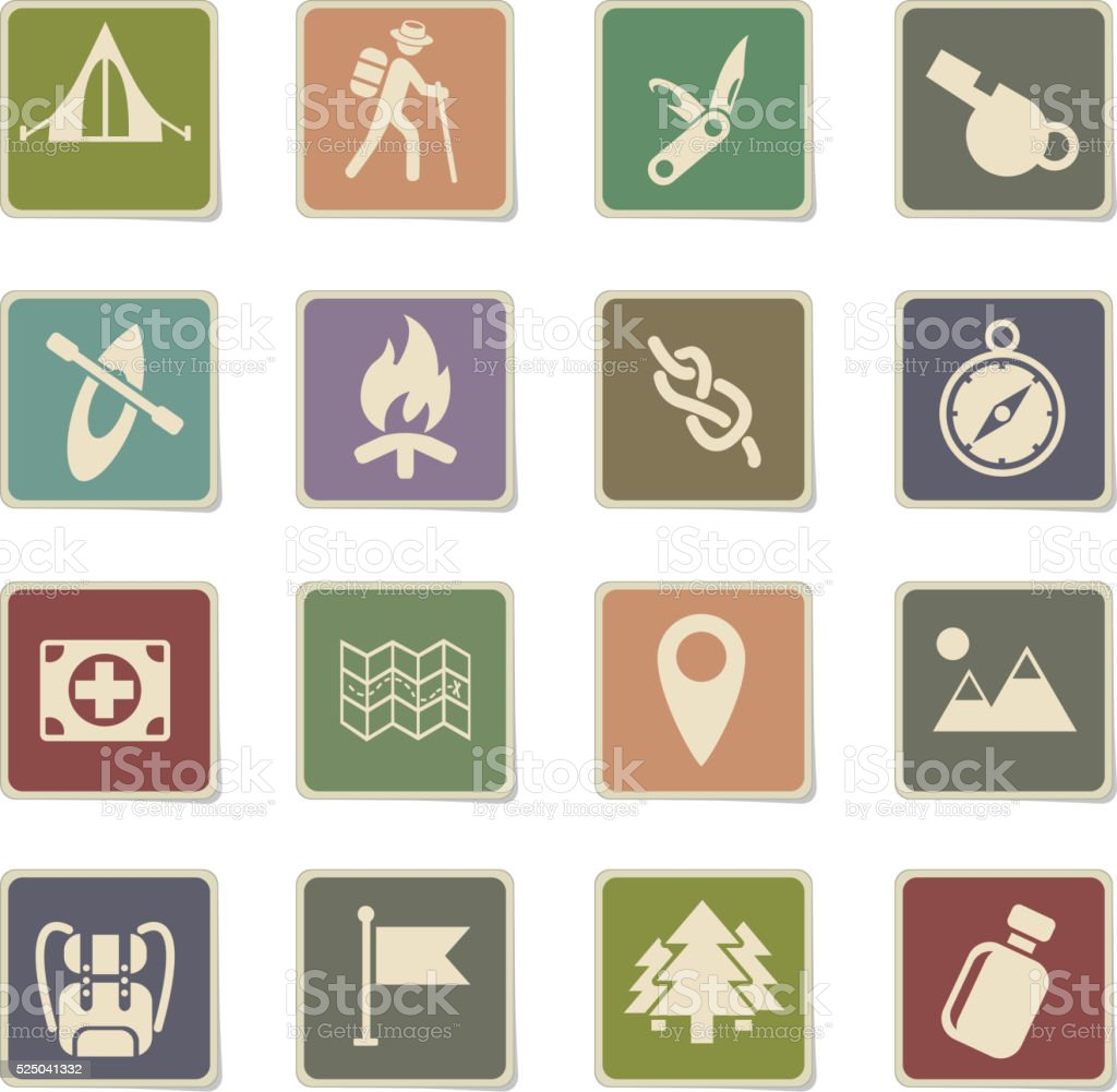 day of skouts icon set vector art illustration