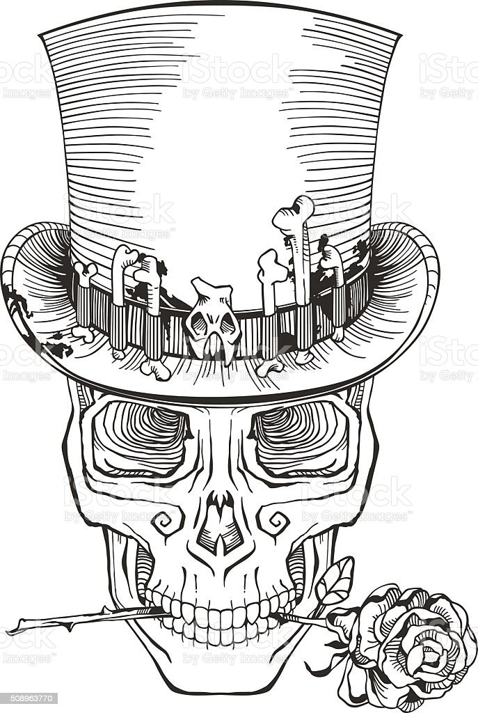 day of the dead, baron samedi drawing vector art illustration