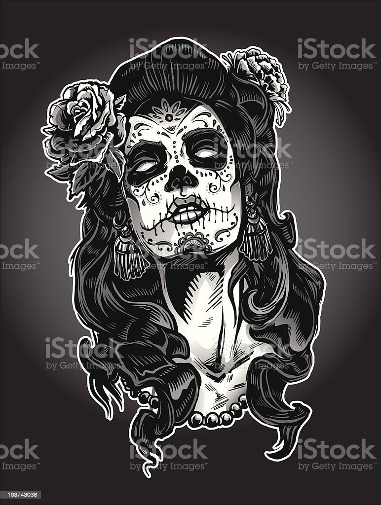 Day of the Dead Calavera Woman vector art illustration