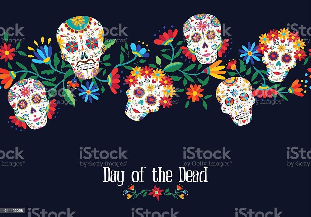 Day of the dead flower skull background design vector art illustration