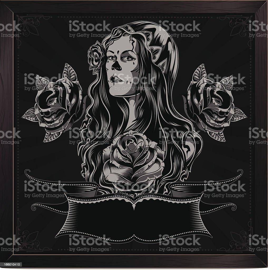 Day of the dead girl vector art illustration