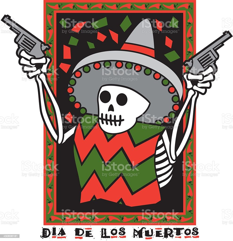 Day of the Dead Skeleton With Guns royalty-free stock vector art