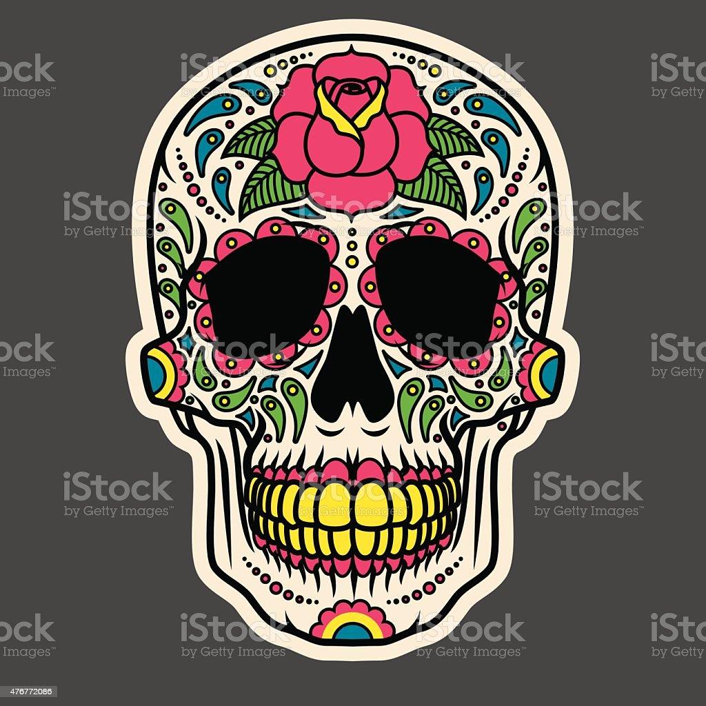 Day of the Dead Sugar Skull Icon Calavera vector art illustration