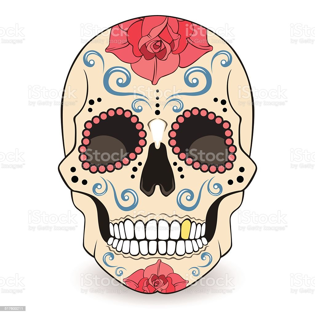 Day of The Dead Sugar Skull with floral ornament vector art illustration