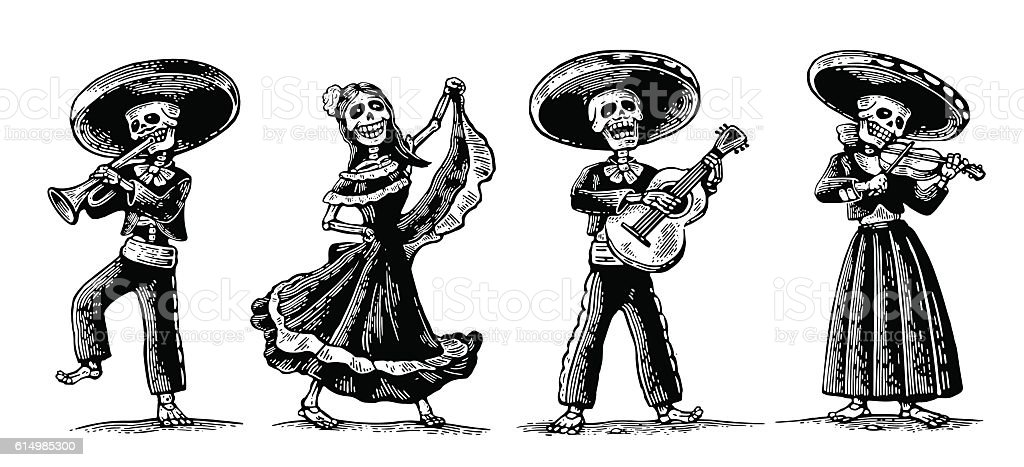 Day of the Dead. The skeleton in Mexican national costumes vector art illustration