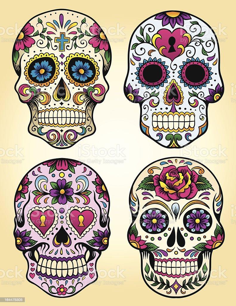 Day of the dead vector illustration set vector art illustration