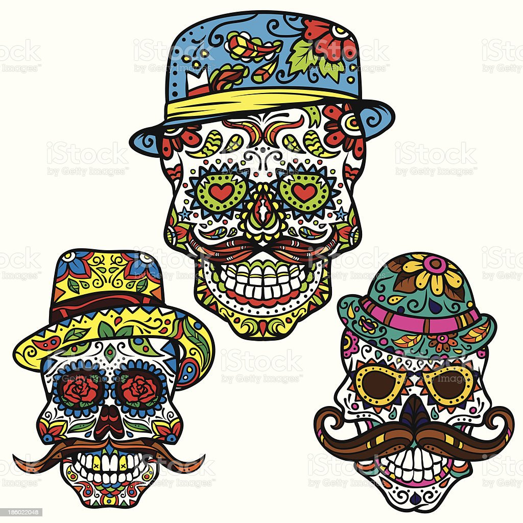 Day of the dead vector set - Hipster Sugar Skulls royalty-free stock vector art