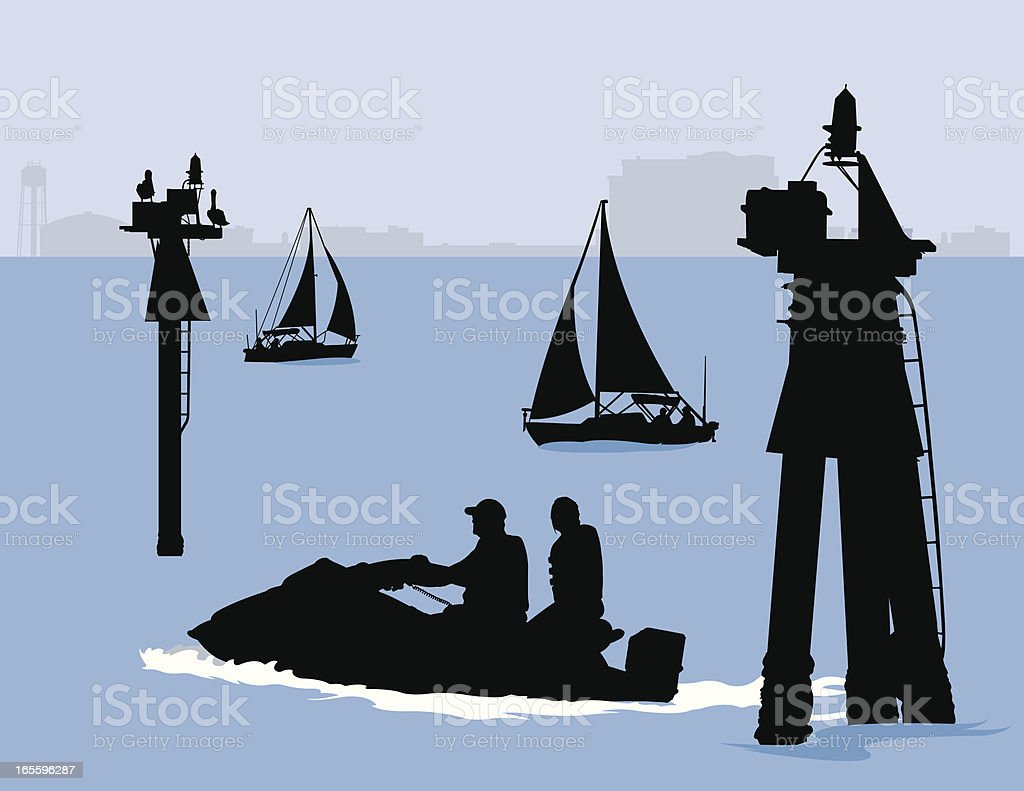 Day on the Bay vector art illustration