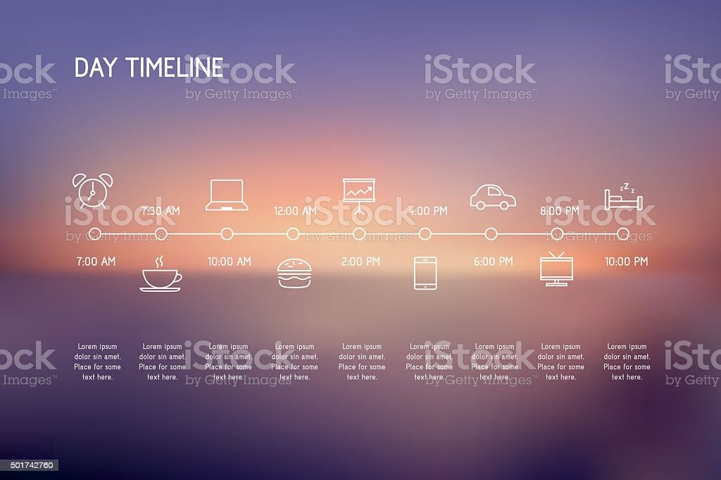 Day Timeline vector art illustration