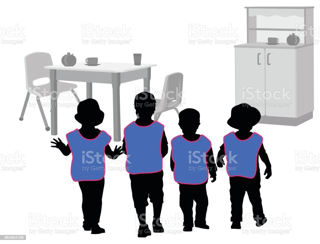 Daycare Friends vector art illustration