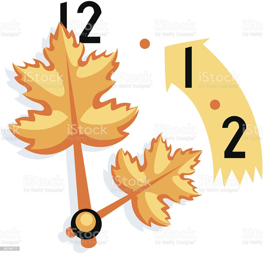 Daylight Savings time, fall back with leaves vector art illustration