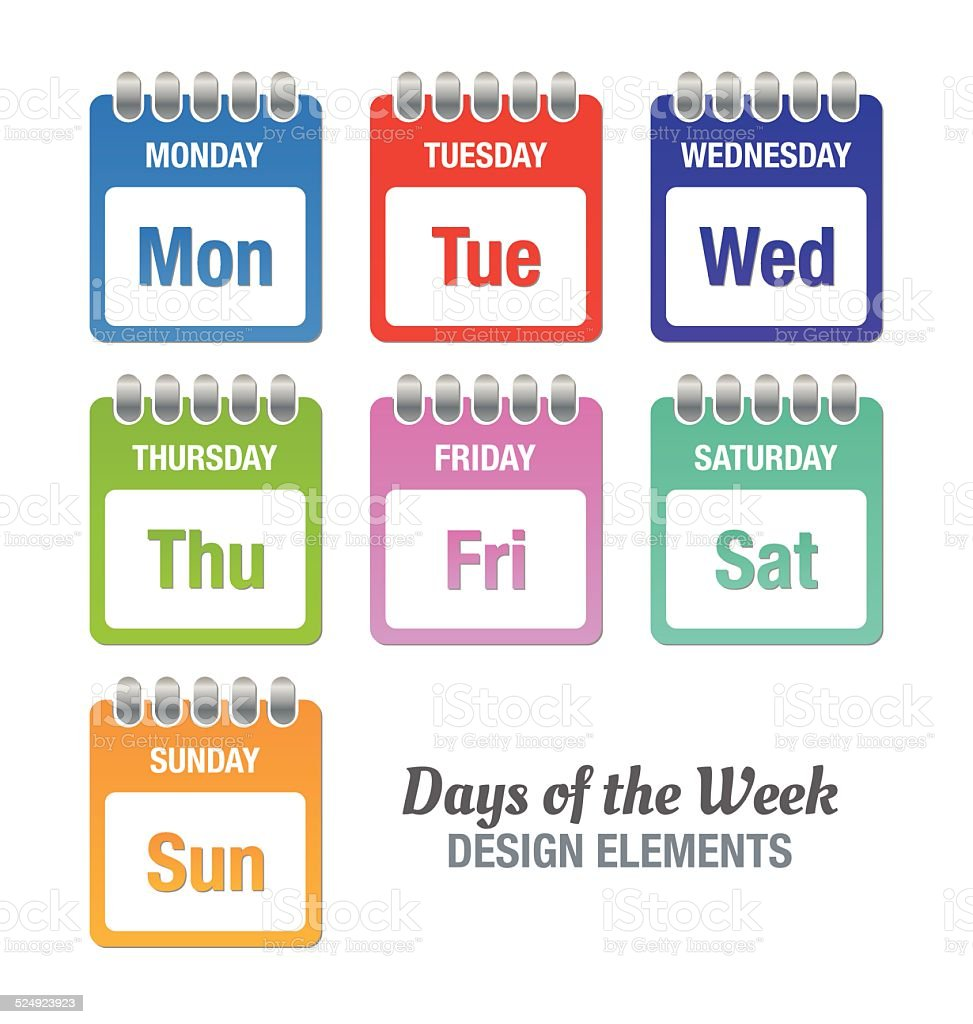 Days of the week vector art illustration