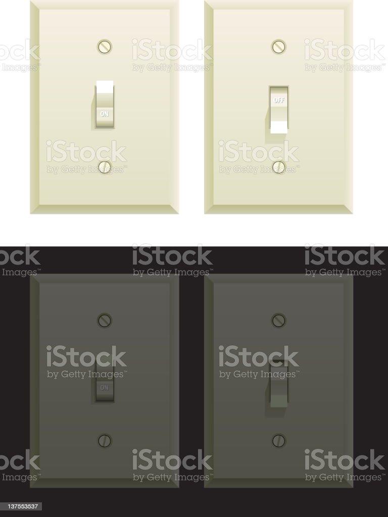 Daytime and Nighttime Light Switch vector art illustration