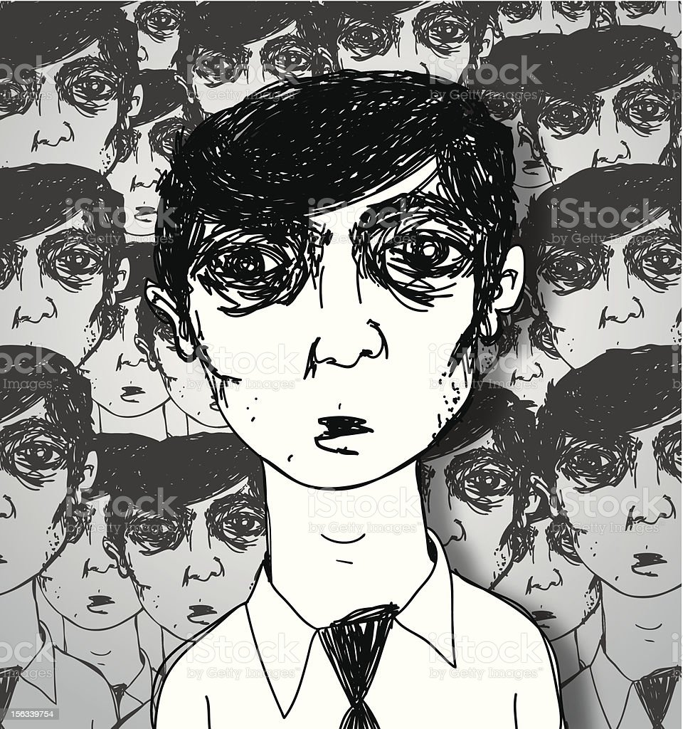 Dazed and Confused Worker vector art illustration