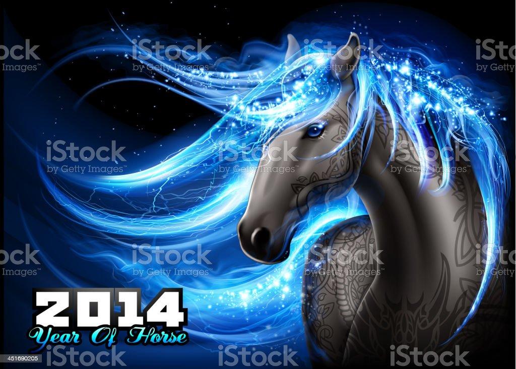 Dazzling blue horse vector art illustration