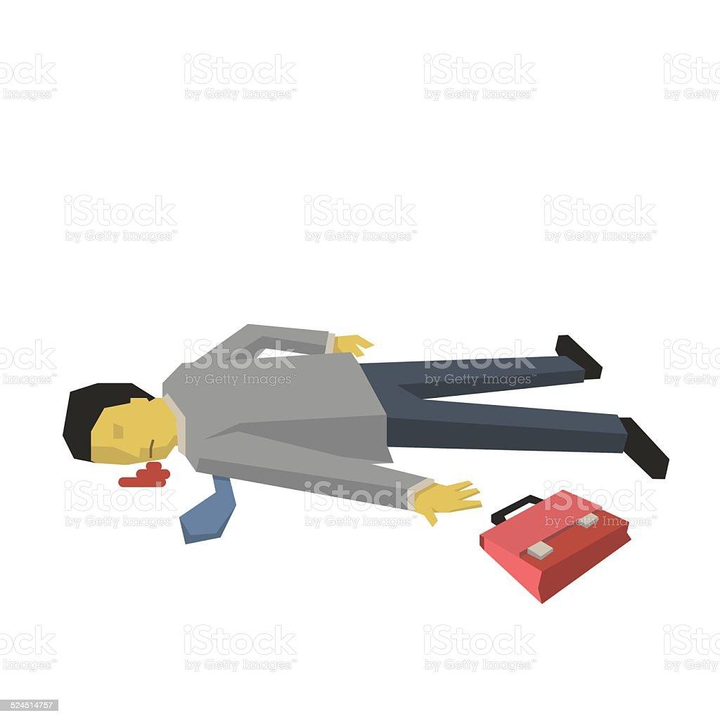 Dead businessman vector art illustration