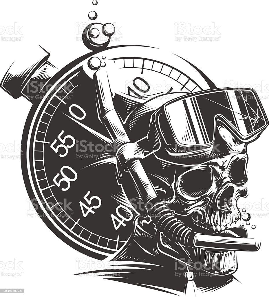 Dead Diver vector art illustration