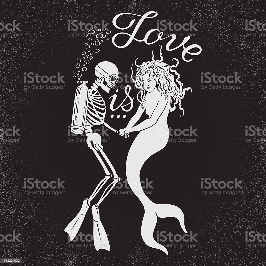 Dead diver with mermaid and phrase Love is. vector art illustration