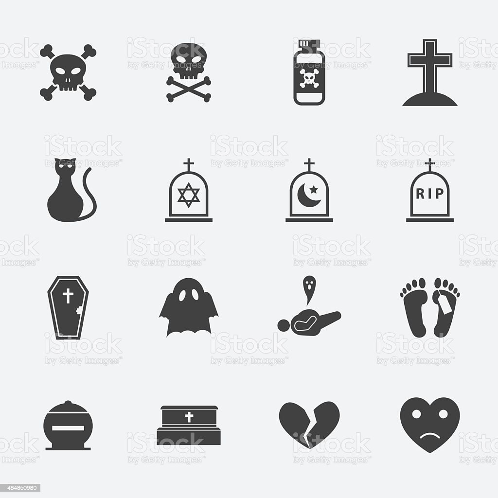 Dead icon set. vector art illustration