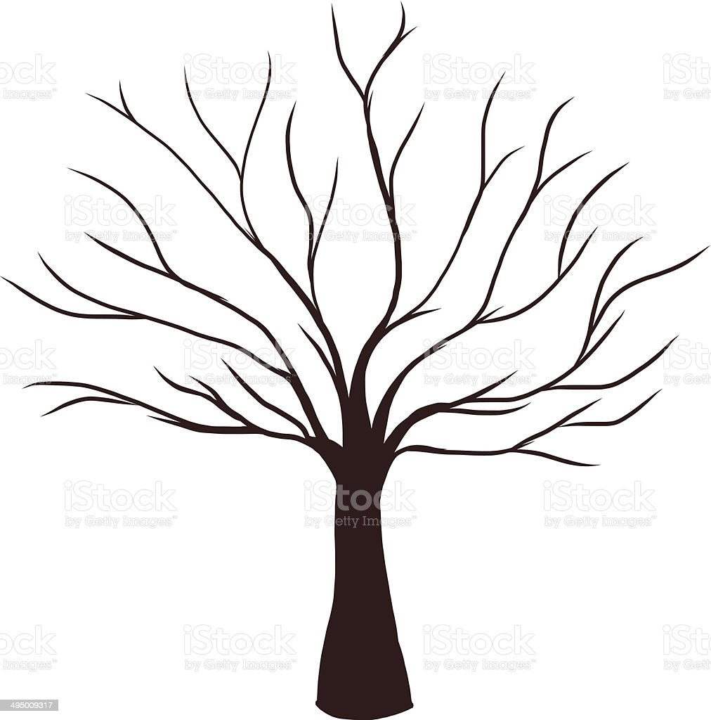 Dead Tree without Leaves vector art illustration