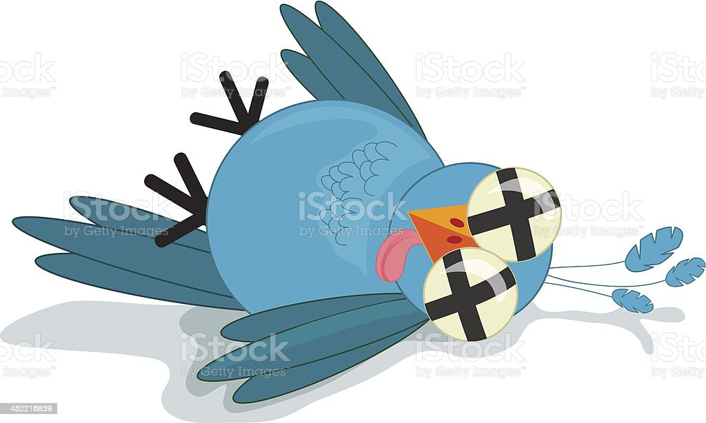Dead Twitter Bird vector art illustration