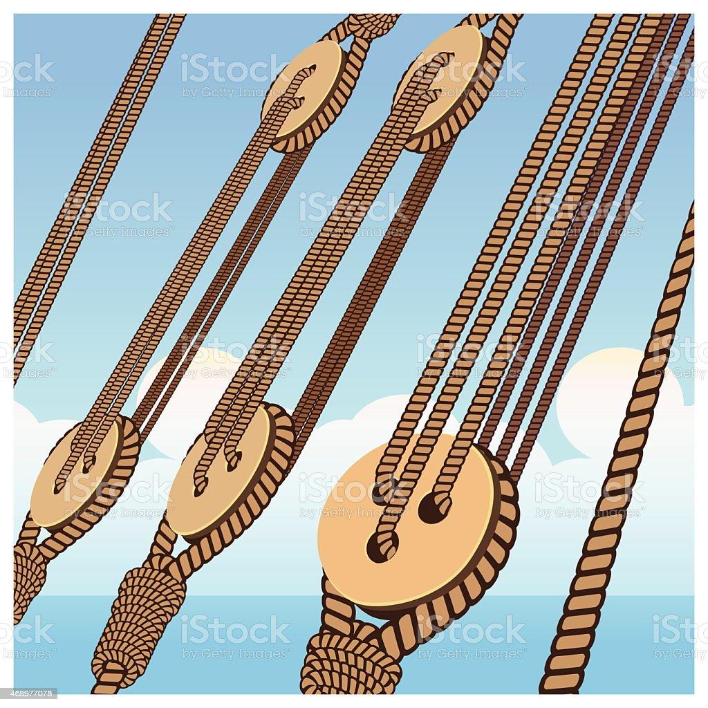 Deadeye and ropes vector art illustration