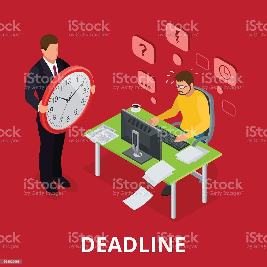 Deadline Concept of overworked man vector art illustration