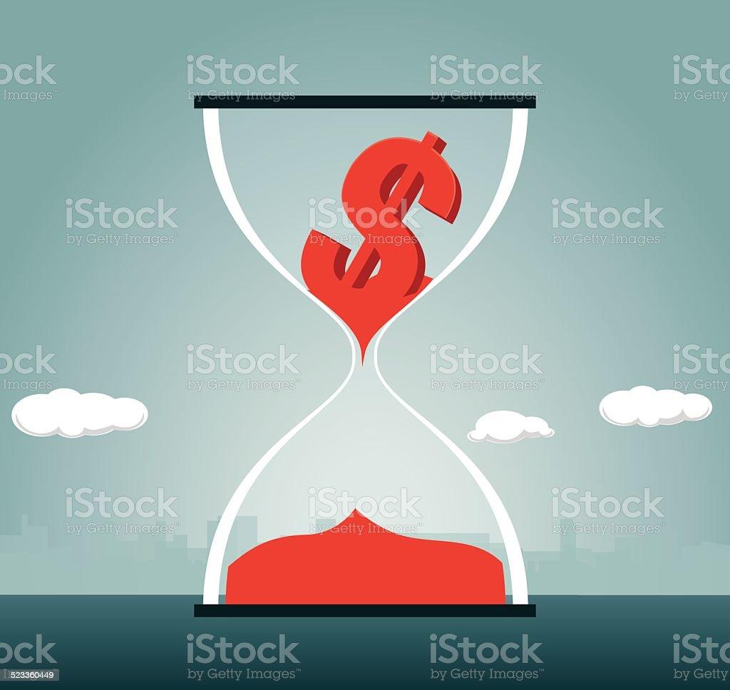 Deadline, Hourglass, Currency vector art illustration