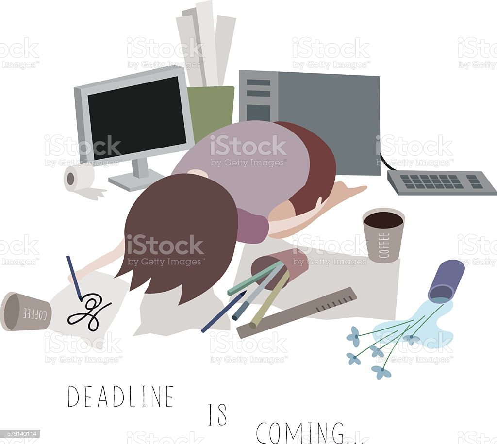 Deadline is Coming Closer vector art illustration