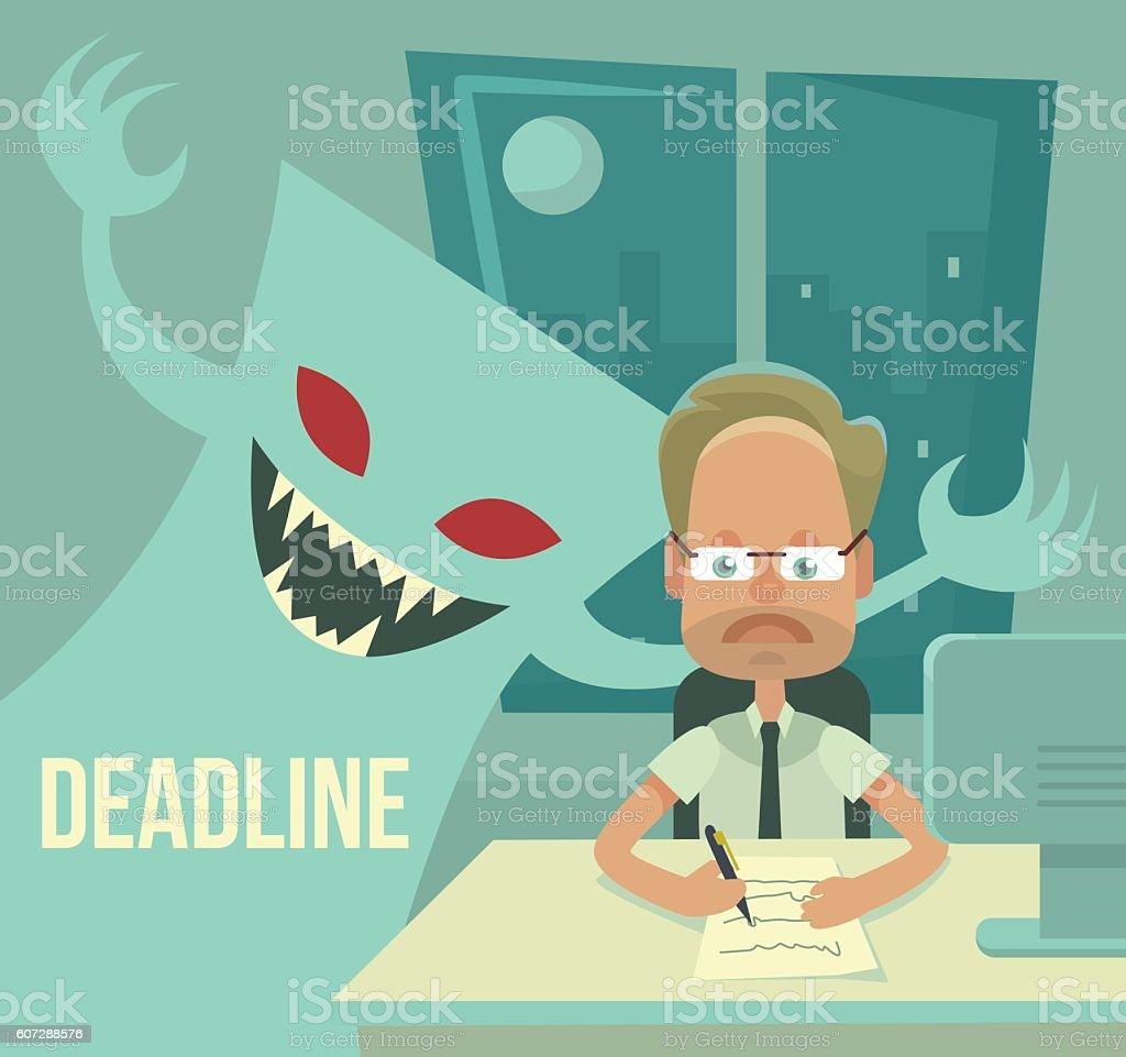 Deadline monster and office worker characters. Vector flat cartoon illustration vector art illustration