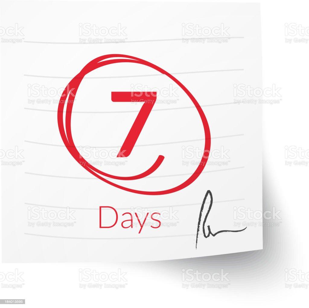 Deadline Note 7 Days royalty-free stock vector art