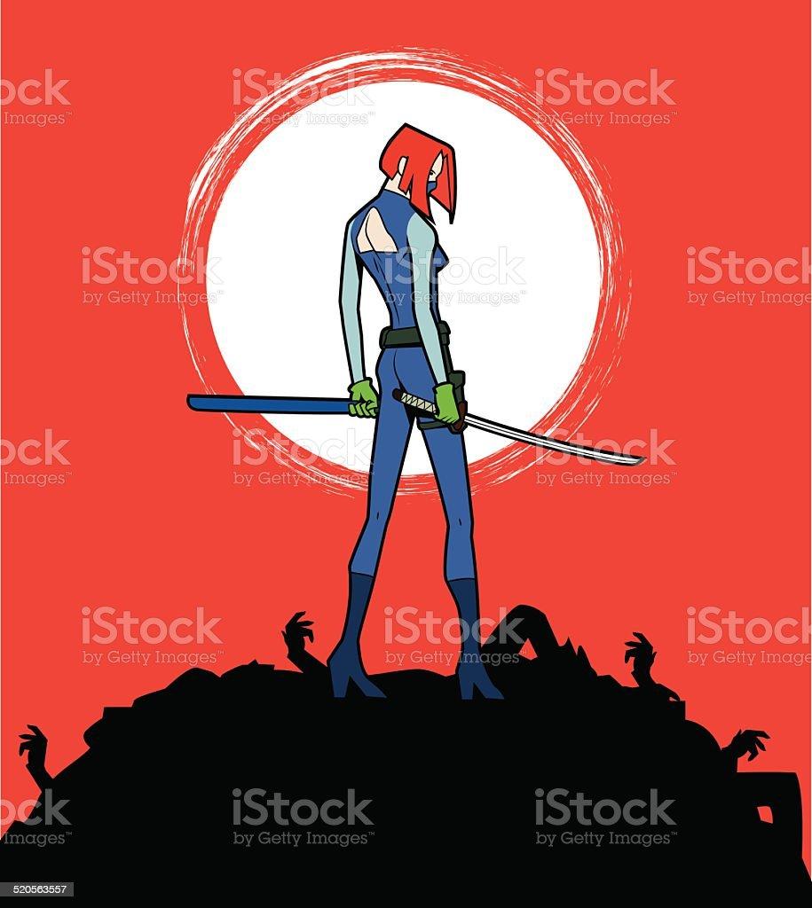 Deadly Female Assassin vector art illustration